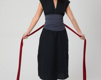 Wrap Obi Belt, Waist Tie Belt, Wide High Waist belt, Bohemian sash, Red Obi belt, Grey women's Obi belt, Boho Extra long belt, Women's Belt