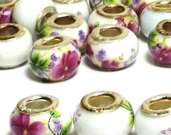 Ceramic Flower Beads, flower beads, hibiscus flower beads, euro-type beads, floral beads 13 mm (set of 5)
