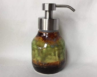 Foaming Soap Dispenser, ceramic soap dispenser, ceramic foamer, metal foam soap pump, pottery foamer, foam soap bottle