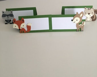 12 Woodland Critters Place Cards, Woodland Food Label Tents, Woodland party decorations, Fox Party, Raccoon Party, Squirrel Party, Deer