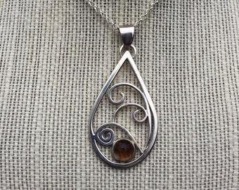 Sterling Silver Swirls Teardrop  Rutilated Quartz Stone Pendant