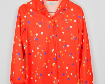 70s Shirt, Vintage Clothing, 70s Clothing, Hippie Clothes, Boho Clothing, Retro, Mary Tyler Moore, Polyester, Colorful Shirt, Orange Blouse