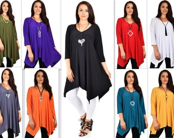 Comfyplus Tunic, Versatile and Oversize Tunic, lagen look Tunic,  Plus size tunic with side pockets. Fits 1XL/2XL/3XL. 9 Colors