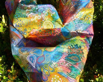 Silk scarf paisley colours