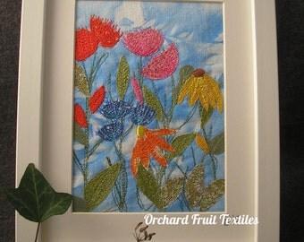 Original Textile Art - Framed Embroidery - summer flowers