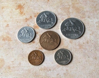 1991 Lithuanian Coins, Coins from Lithuania, Coins for Jewelry Making, Europian Coins, Lithuanian Centas, Lithuanian Litas
