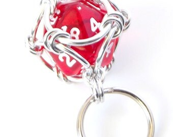 Bright Red Dice Keychain, Caged Chainmaille D20 Geek Keyring, Father's Day Gift, Geek Gift, Dungeons and Dragons, DnD, RPG Accessories