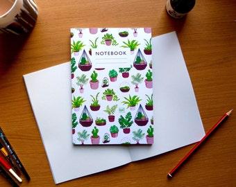 Plant pattern notebook - Lined or plain paper  |  gardening  |  sketchbook | succulents & terrariums