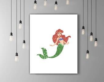 Fantasy Art, Red Glitter Disney Ariel Art, Little Mermaid Art, Green Glitter Mermaid Girl, Ariel Print, Mermaid Image, INSTANT DOWNLOAD