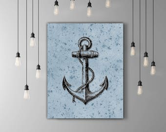 Blue Black Anchor Decor, Navy Anchor Printable Vintage Nautical Decor, Anchor Wall Decor Nautical Artwork, Navy Wall Art, Navy Wall Decor