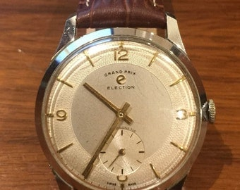 "Grand Prix ""Election"" Vintage Gents' Watch. Manual, caliber 805, 17 jewels. Circa 1950's."