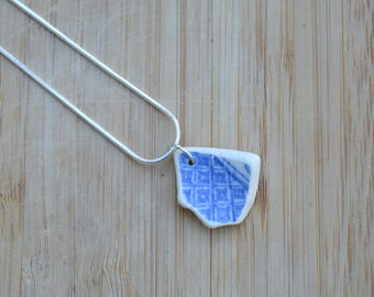 Seaside Jewellery, Upcycled Ceramic Necklace, Mother's Day, Sea Pottery Pendant, Gift for Her, Anniversary Gift, Beach Pottery, Gift Box