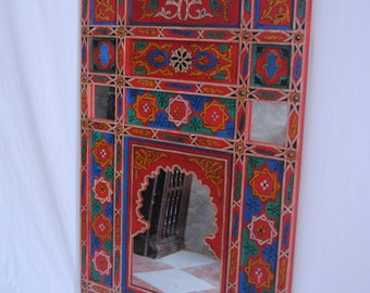 """Moroccan mirror made of wood  handmade by craftman of Chefchaouen (68cm x 120cm) 26.7'' x 47.2"""""""