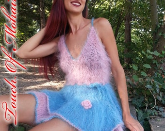 NEW Hand Knitted Mohair Fuzzy Soft NIGHTDRESS FETISH multi color robe gown by Touch of Mohair