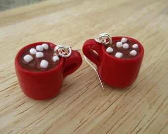 Hot Chocolate Mug Earrings, Handmade Polymer Clay Kawaii