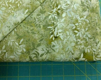 Batik fabric. Bali Willow green leaves leaf quilters quilting cotton 0546