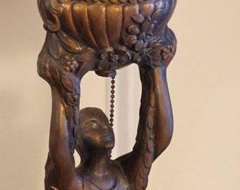 Art Deco - Slag Glass Lamp