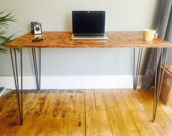 OSB desk with steel hairpin legs