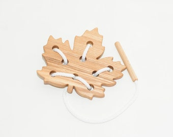 Wooden lacing maple leaf toy, Educational toy, Montessori toys, Organic toy, Toddler activity, Natural eco friendly, Learning sewing toys
