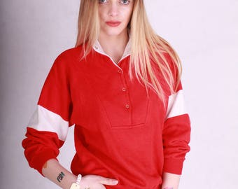 Cool vintage red and white oldschool 80s sweatshirt // retro 80s top red with white stripes