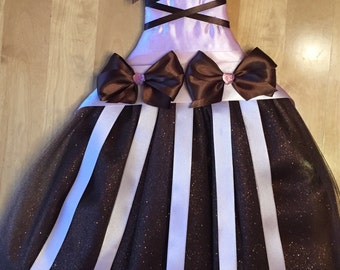 Pink and Brown Tutu Bow Holder