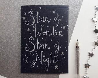 Hand Drawn Christmas Card - Star Of Wonder Star Of Night | Christmas Carol Card, Hand Lettered | Star Christmas Cards, Christmas Star Card,