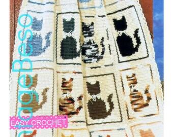 Cat Afghan Crochet Pattern Vintage Cat Crochet Pattern Retro Cat Pillow Crochet Pattern Bedspread Blanket Throw Instant Download PDF Pattern