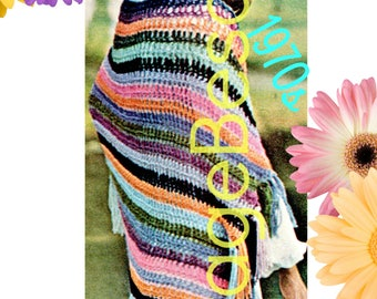 INSTANT DOWNlOAD - PdF Pattern - Easy Shawl CROCHET Pattern Vintage 1970s Crochet Pattern