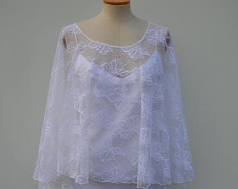 Lace, married white lace poncho, cape white Cape