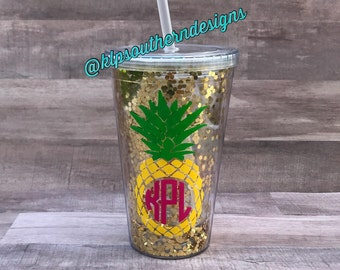Pineapple Tumbler / Pineapple Cup / Pineapple Monogram / 16oz Acrylic Double Wall Tumbler / Pineapple Glitter