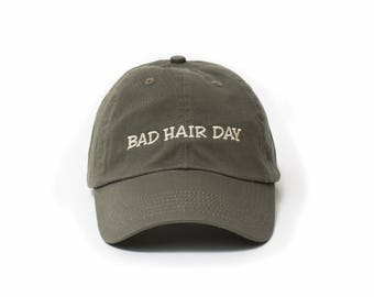 Bad Hair Day Hat, Bad Hair Day Baseball Cap, Embroidered Baseball Cap, Adjustable Strap Back Baseball Cap, Low Profile, Olive