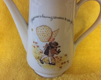 Holly hobbie porcelain vintage teapot  9 in tall, holly and cat