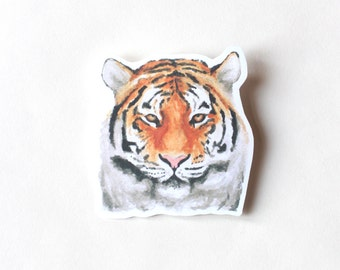 Tiger sticker, Cute Cool Laptop Sticker, Watercolor Illustration