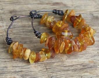Copper hoop earrings amber earrings wire wrapped earrings round earrings wire wrap bohemian earrings boho jewelry rustic jewelry