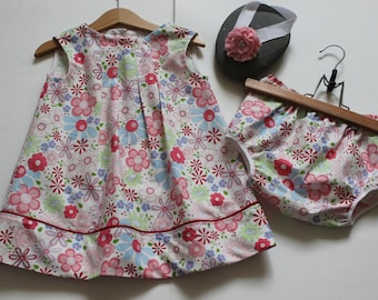 Baby girl dress and shorts size 12 months, 1 year old %100 cotton with matching headband, 3 piece set