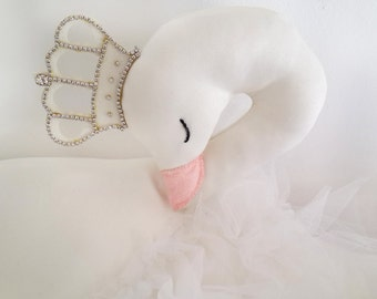 Swan soft sculpture baby girls nursery pillow decor, 17 inch big swan plush stuffed animal toy, baby shower birthday gift for baby girls
