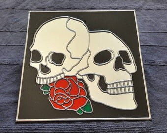 Hand Made 'Skull 'n' Rose' Mirror 12x12""