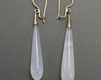 14K Chalcedony drop earrings