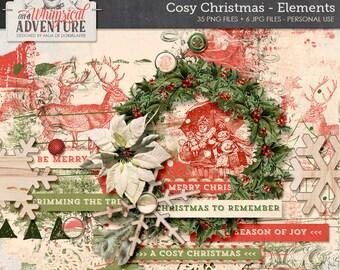 Christmas digital scrapbooking, digital download, winter scrapbook elements, vintage ephemera, art journaling, cards, artsy, paint