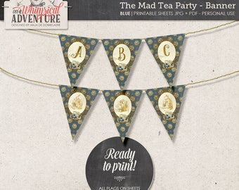 Printable Alice In Wonderland party banner, party printables, printable collage sheet, tea party, vintage mad tea party digital download