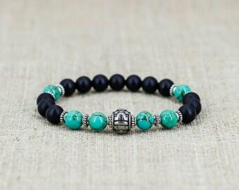 Turquoise bracelet Black onyx bracelet Healing crystal and stones Boho jewelry Zodiac-bracelet Zodiac-jewelry Libra-bracelet Libra-jewelry