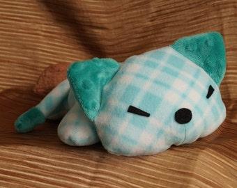Cute Kitty--Turquoise Plaid Fleece