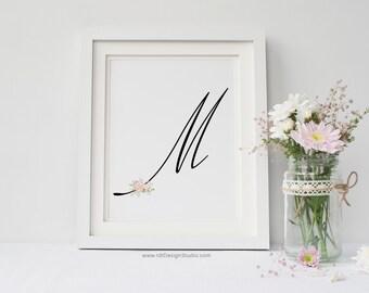 Letter M Wall Art, Nursery Monogram Print, Nursery Wall Art, Monogram Printable, Initial Print,Cadre, Gift Ideas, Christmas Gift, DT174