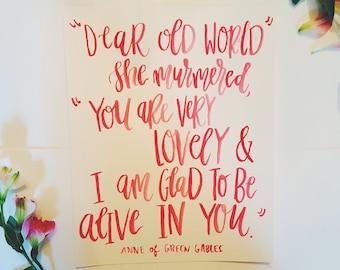 Anne of Green Gables Hand-Lettered 8x10 Art