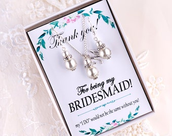 Bridesmaid Jewelry Ivory Pearl Bridesmaid Earrings Bridesmaid Gift Pearl Wedding Jewelry Set Pearl Earings Bridal Earring Wedding Party Gift
