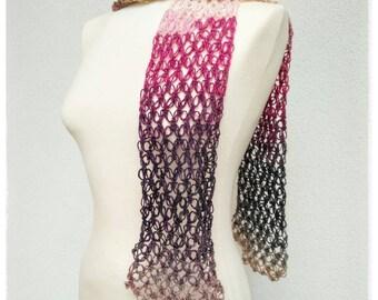 Multicolor light scarf. Hand crocheted.