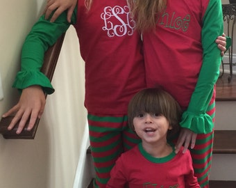 Monogrammed Personalized Embroidered Boys and Girls Striped Red/Green Christmas PJs