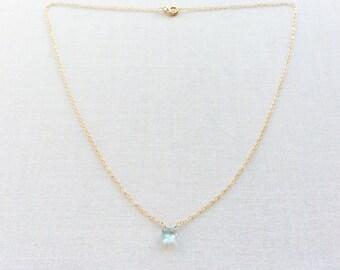 Tiny Topaz Necklace - Gold Topaz Necklace - Topaz Necklace - Topaz Jewelry - Dainty Gold Necklace - Blue Topaz - Jewelry - Necklace