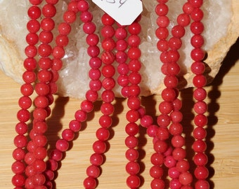 """16"""" Strand of 4mm Smooth Round Red Coral Beads #54"""