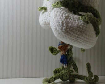 Jack and the Beanstalk Handmade Crocheted Fiber Art Statue